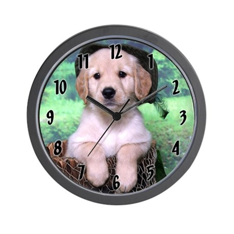 Golden Puppy Clock