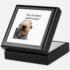 Nosey Airedale Terrier Always Nosing Keepsake Box