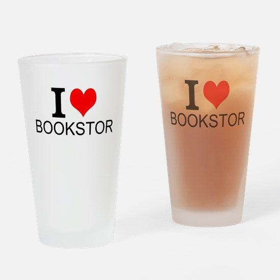 I Love Bookstores Drinking Glass