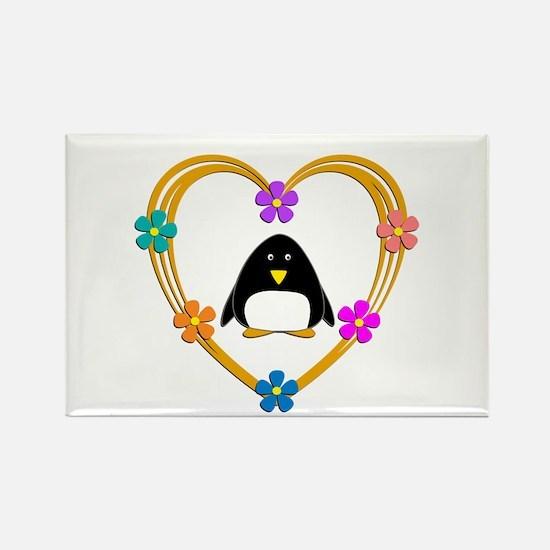 Penguin Heart Rectangle Magnet