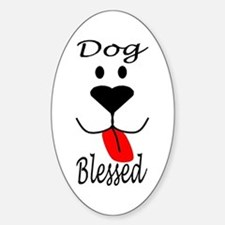 Dog Blessed Oval Decal