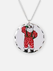 glitter black santa claus Necklace