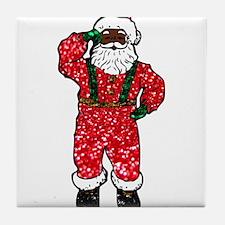 glitter black santa claus Tile Coaster