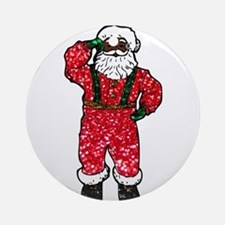 glitter black santa claus Round Ornament