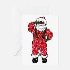 glitter black santa claus Greeting Cards