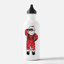 glitter black santa cl Water Bottle