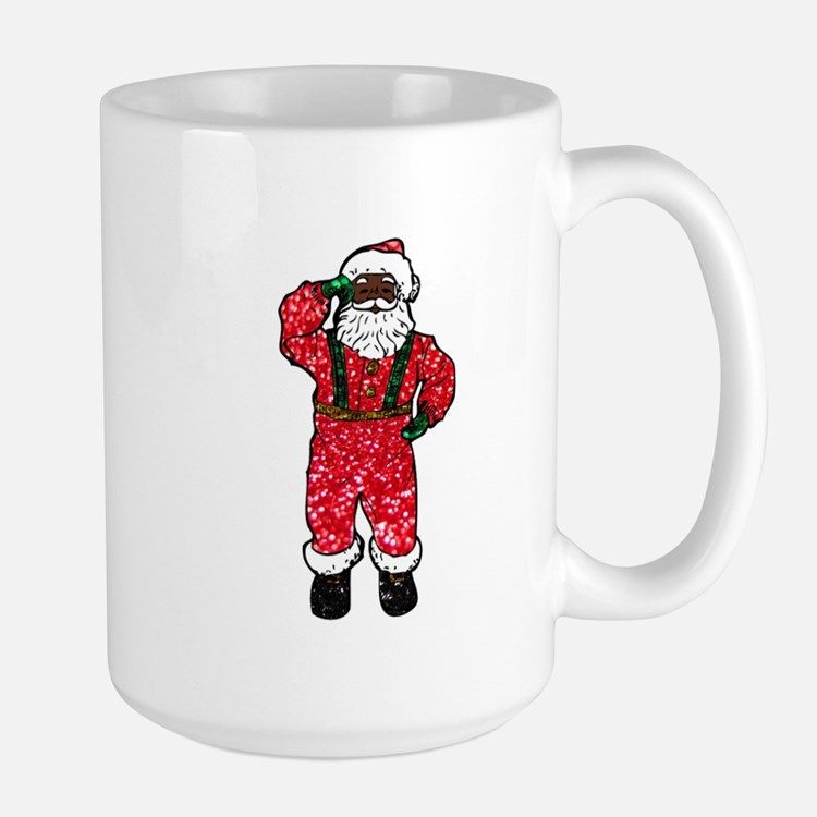 glitter black santa claus Mugs