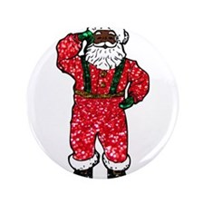 glitter black santa claus Button