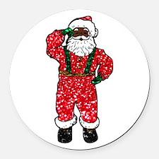 glitter black santa claus Round Car Magnet