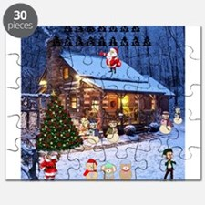 Log Cabin Christmas Puzzle
