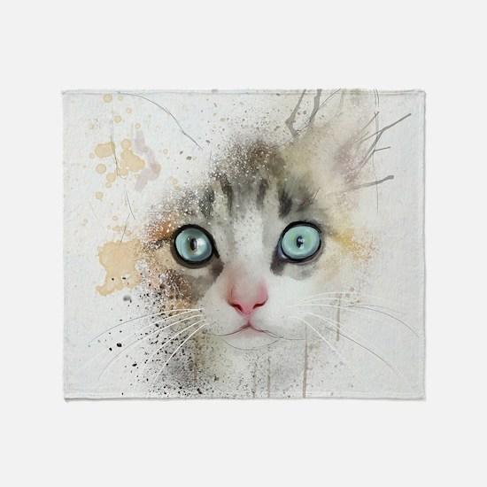 Kitten Painting Throw Blanket