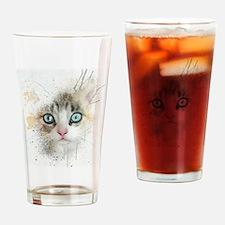 Kitten Painting Drinking Glass