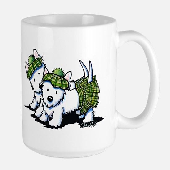KiniArt Westie Kilted Duo Large Mug