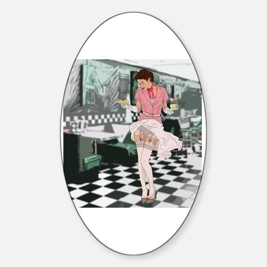 Cool Hot waitress Sticker (Oval)