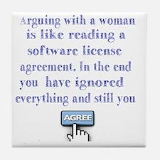 arguing woman Tile Coaster