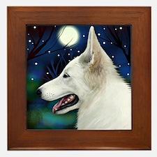 White German Shepherd Dog Moon Framed Tile