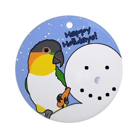 Snowman Black Headed Caique Christmas Ornament