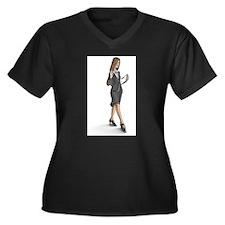 Business Woman Women's Plus Size V-Neck Dark T-Shi
