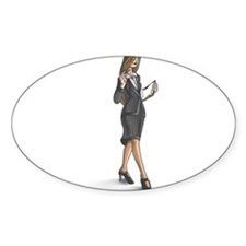 Business Woman Oval Decal