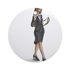 Business Woman Ornament (Round)