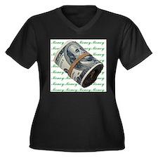 MONEY MONEY MONEY Women's Plus Size V-Neck Dark T-