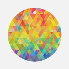 Rainbow Diamond Pattern Round Ornament