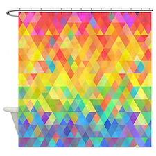 Rainbow Diamond Pattern Shower Curtain