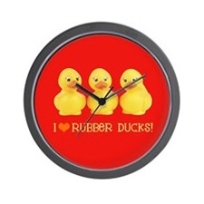 I Love Rubber Ducks Wall Clock