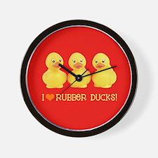 I Love Rubber Ducks Wall Clock