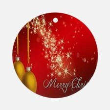 Merry Christmas Sparkles Round Ornament