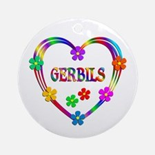 Gerbil Heart Round Ornament