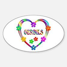Gerbil Heart Sticker (Oval)