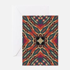 Aztec Pattern Earthy Warm tones Greeting Cards