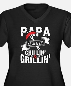 Cool Grillin and chillin Women's Plus Size V-Neck Dark T-Shirt