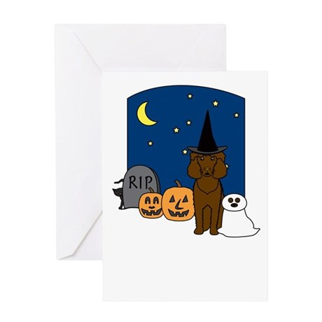 Irish Water Spaniel Halloween Greeting Card