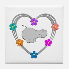 Hippo Heart Tile Coaster