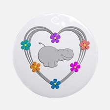 Hippo Heart Round Ornament