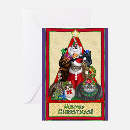 Funny White cat christmas Greeting Cards (Pk of 10)