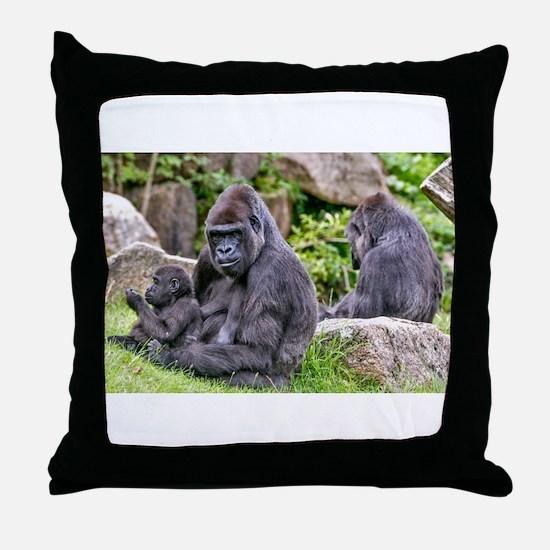 Cute Gorillas Throw Pillow