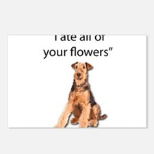 Rowdy Airedale Terrier At Postcards (Package of 8)