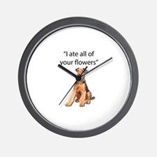 Rowdy Airedale Terrier Ate Your Flowers Wall Clock