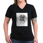 """Yorkshire Terrier"" by Women's V-Neck Dark T-Shirt"