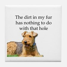 Airedale Sees no connection between h Tile Coaster
