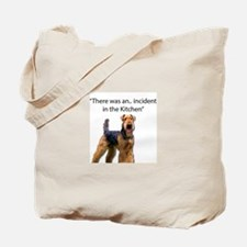 """Airedale Caused """"Incident"""" in Kitchen Tote Bag"""