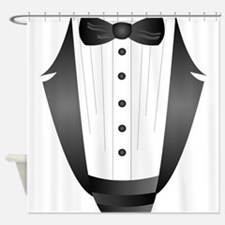 bachelor party groom tuxedo Shower Curtain