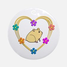 Hamster Heart Round Ornament
