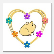 "Hamster Heart Square Car Magnet 3"" x 3"""