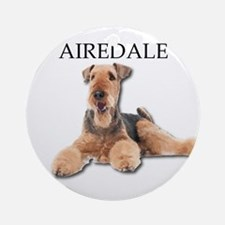 Lazy Airedale Terrier Laying Down Round Ornament