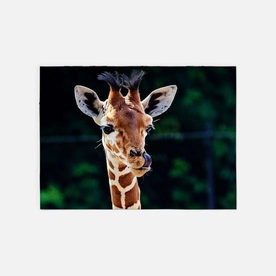 Sweet young Giraffe 5'x7'Area Rug