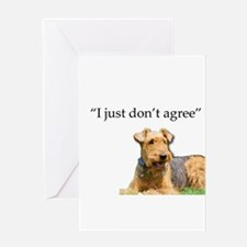 Outdoor Airedale Terrier Disagrees Greeting Cards